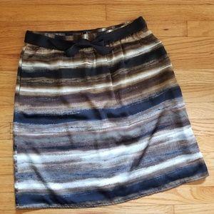 Apostrophe Stripe Pencil A-line Skirt Black 8